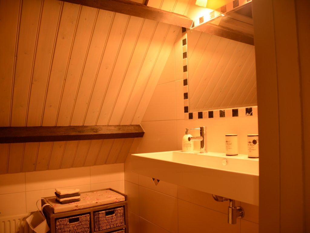 Badkamer boven, met groot ligbad en regendouche